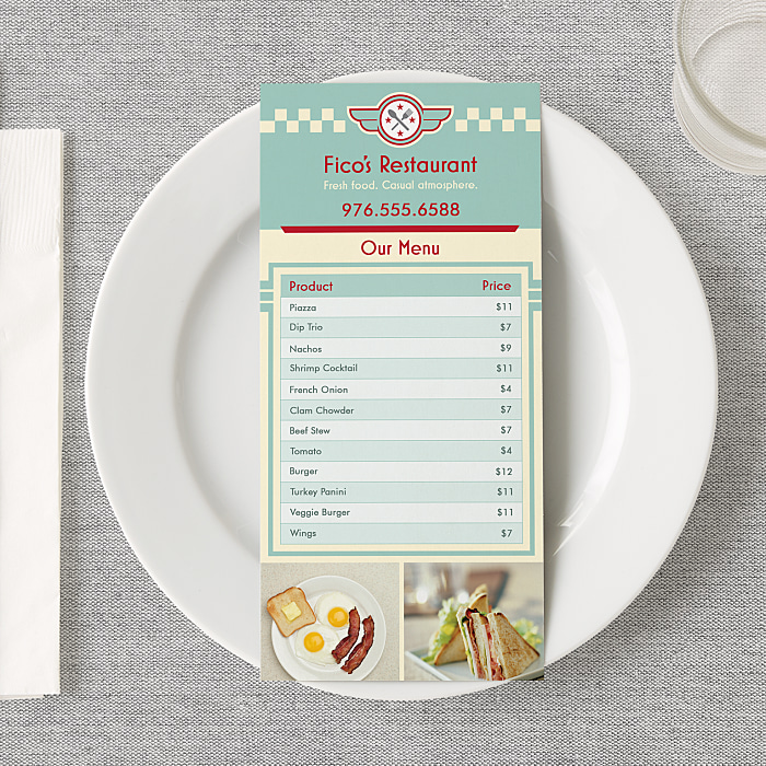 custom menu printing restaurant food menus vistaprint
