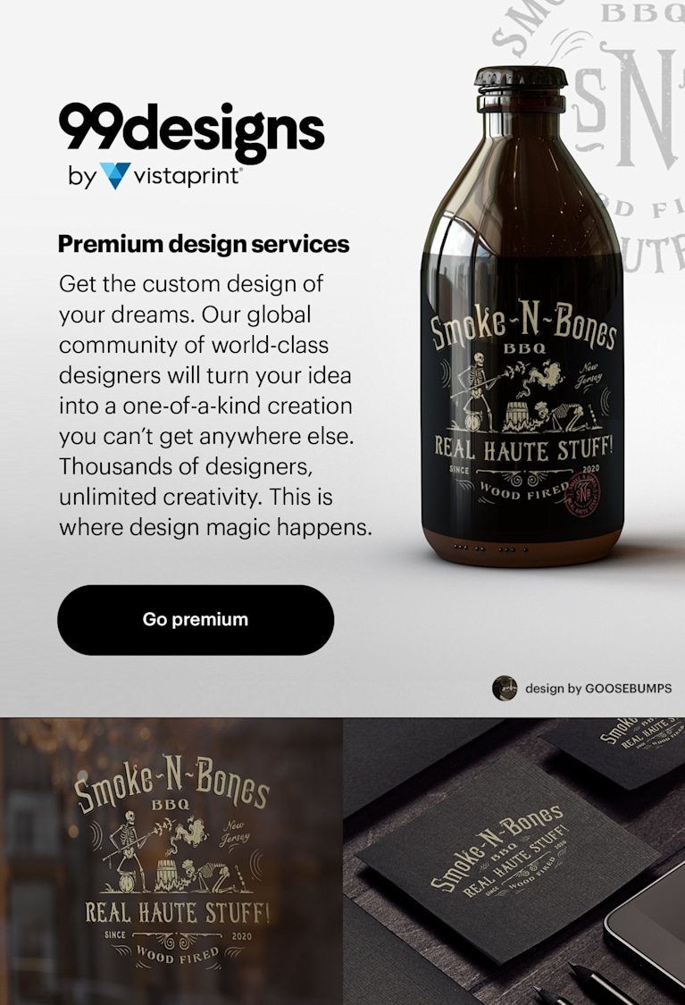 99designs by Vistaprint 2021 premium design services banner
