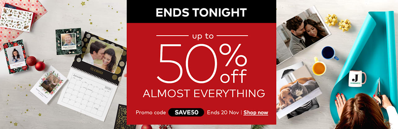 Ends tonight: up to 50% off almost everything. Promo code SAVE50