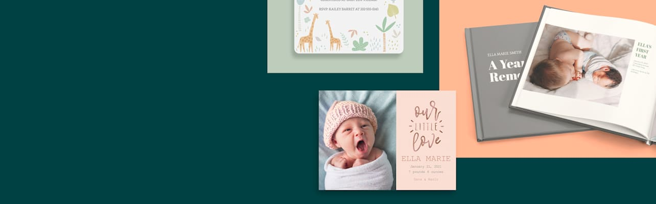 Baby shower invitations and gifts