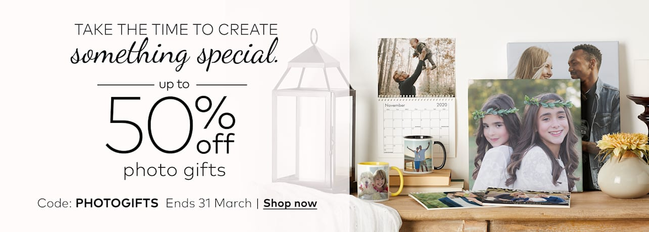 up to 50% off custom photo gifts