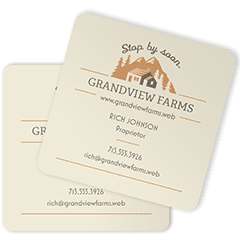 cream square business card with rounded corner