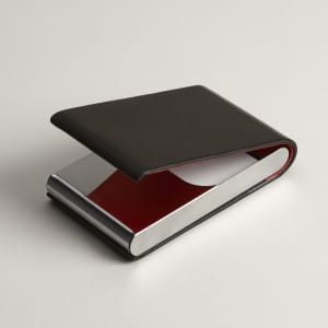 Black leather vertical business card case