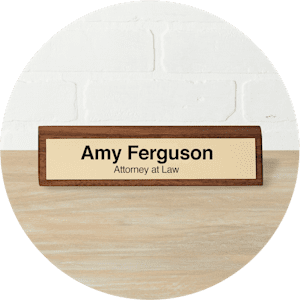 walnut desk name plate