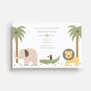 Jungle animals themed baby shower invitation