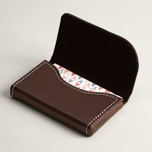 Brown leather horizontal business card holder