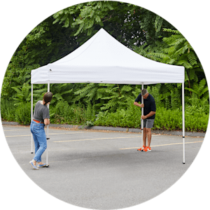 Lift tent to set up correctly