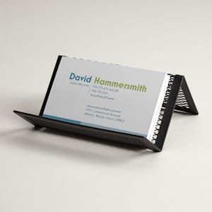 Metal business card stand for desk