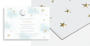 Gold foil baby invitations