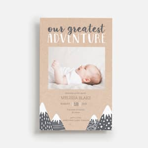 Birth announcement with mountain theme and photo