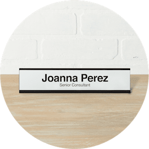 black aluminum desk name plate