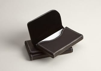 Black Leather Horizontal Business Card Holder