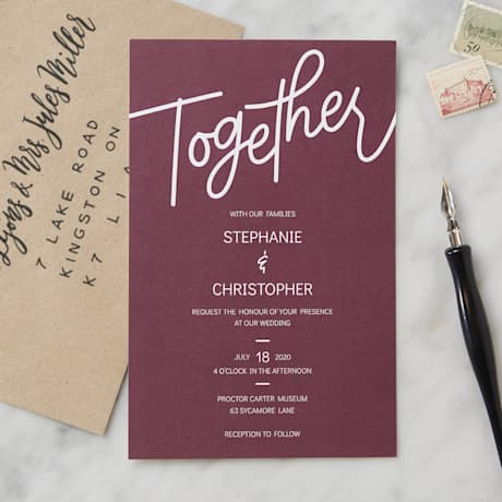 Typographical wedding invitations designs
