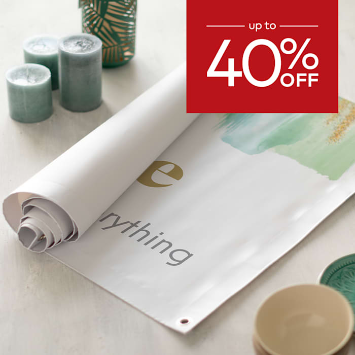up to 40% off vinyl banners.