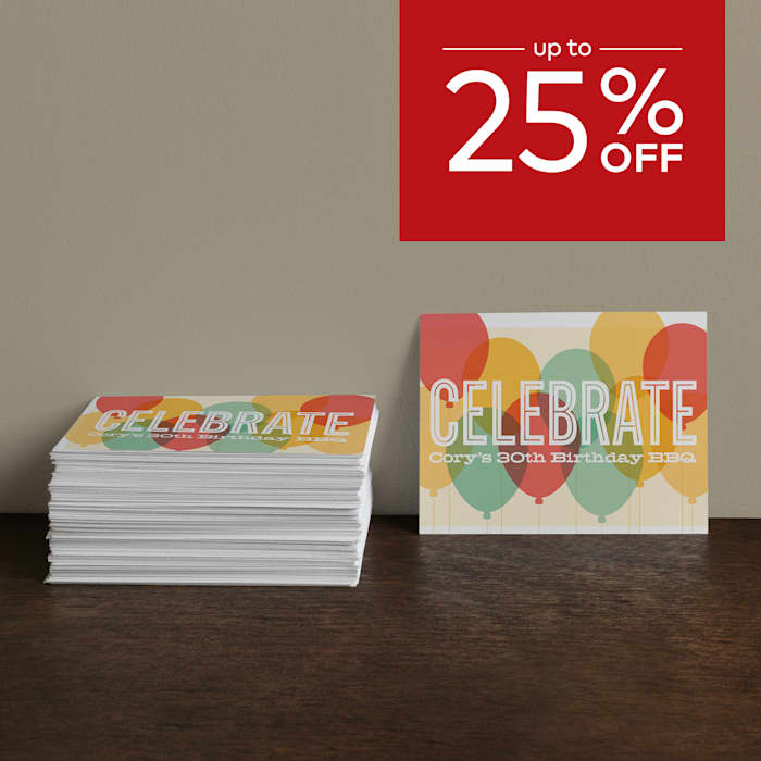 up to 25% off invitations.