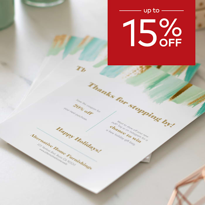 up to 15% off flyers.