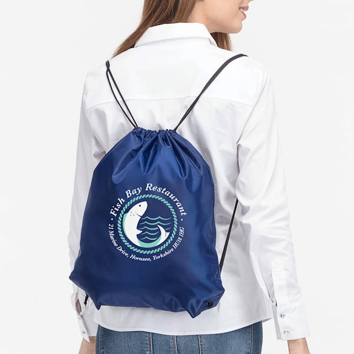 drawstring backpack with custom logo