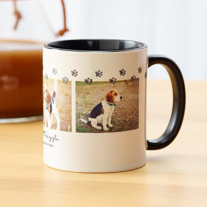 custom black photo mug