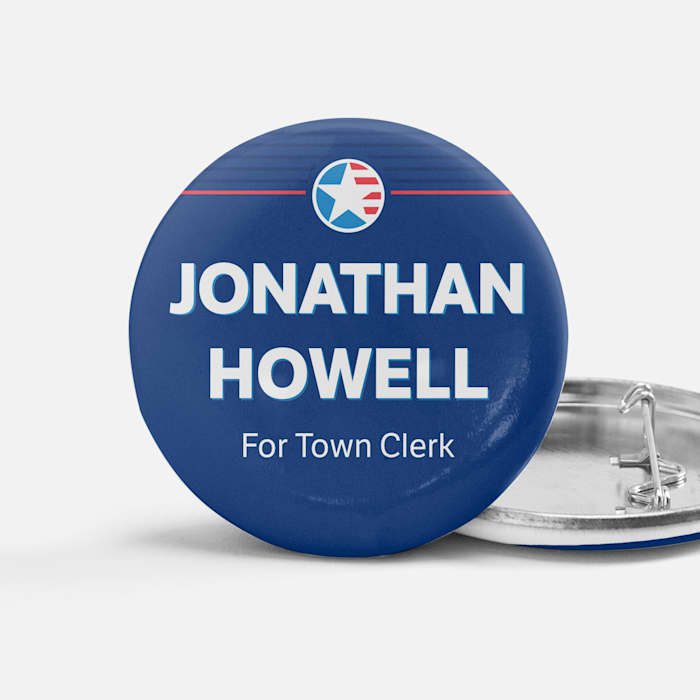 custom blue button round town clerk