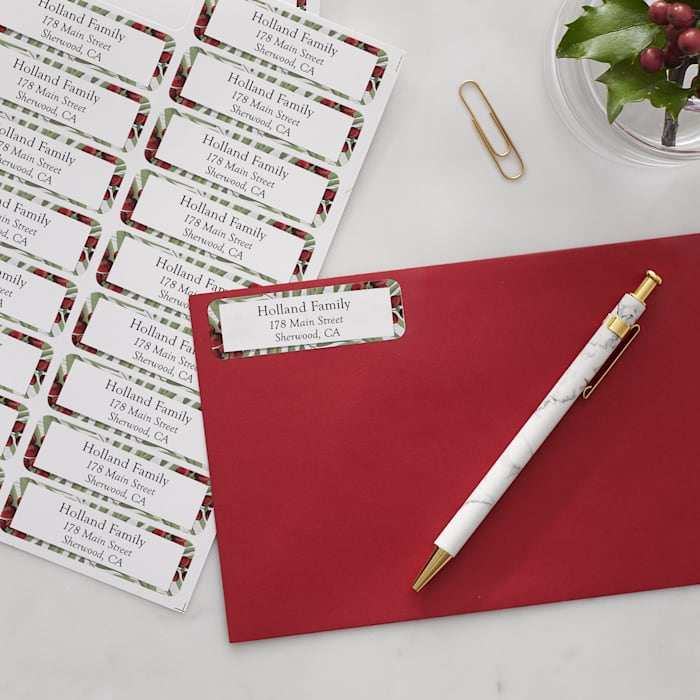 personalized return address bales with a christmas design