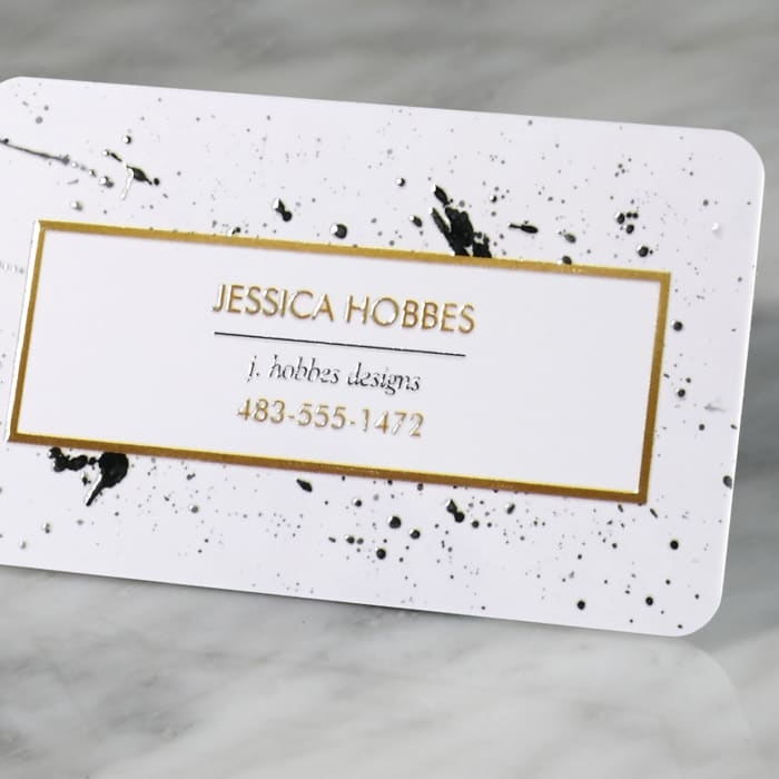 Rounded Corner embossed gloss business cards