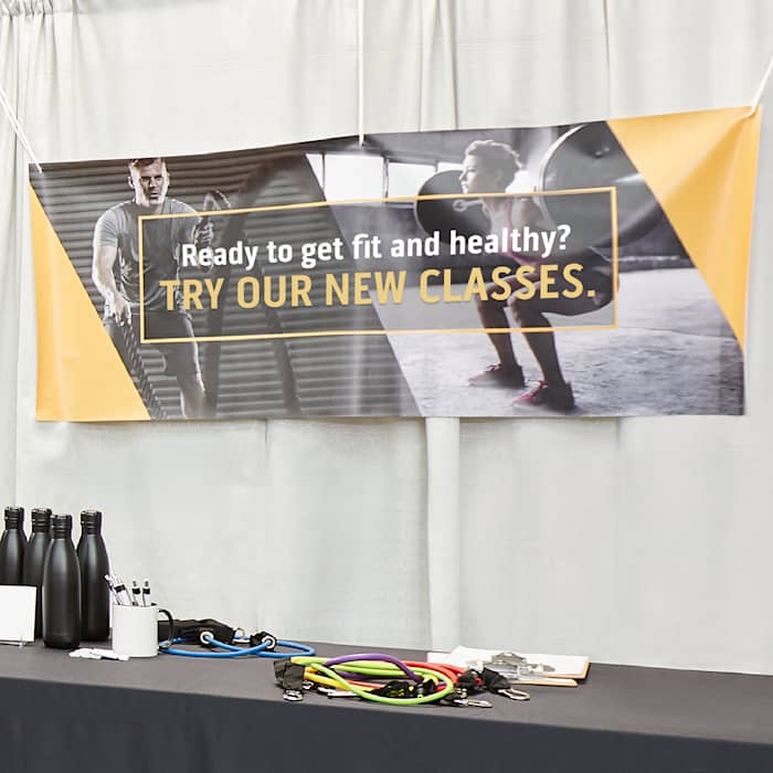 gym workout vinyl banner yellow