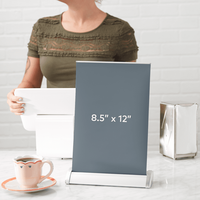 tabletop retractable banner by Vistaprint