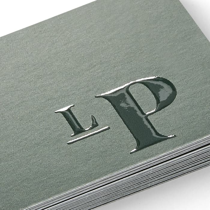 grey embossed business cards