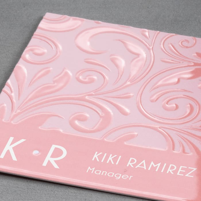 pink raised print business cards