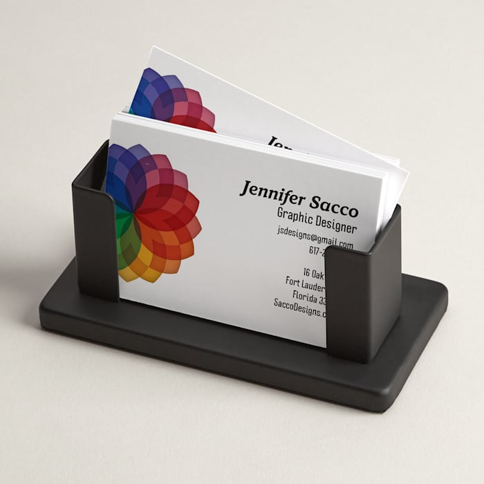 Steel desk business card holder stand
