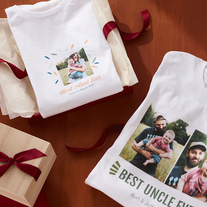 "custom photo t shirt with ""best uncle ever"" and ""best aunt ever"""