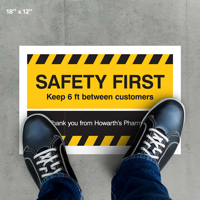 custom yellow floor decal safety first customers