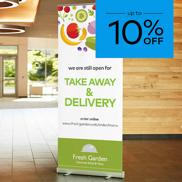 up to 10% off pull up banners