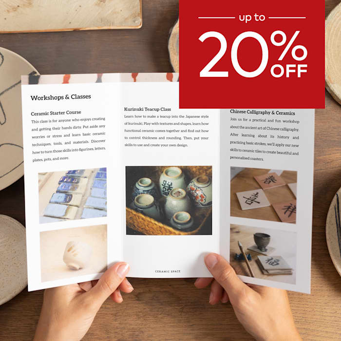 up to 20% off brochures.