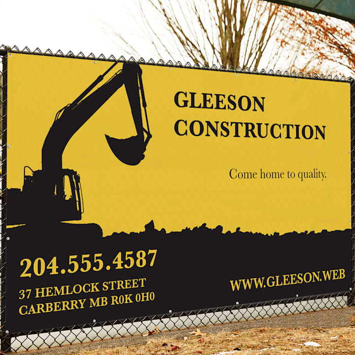 Mesh sign for construction company