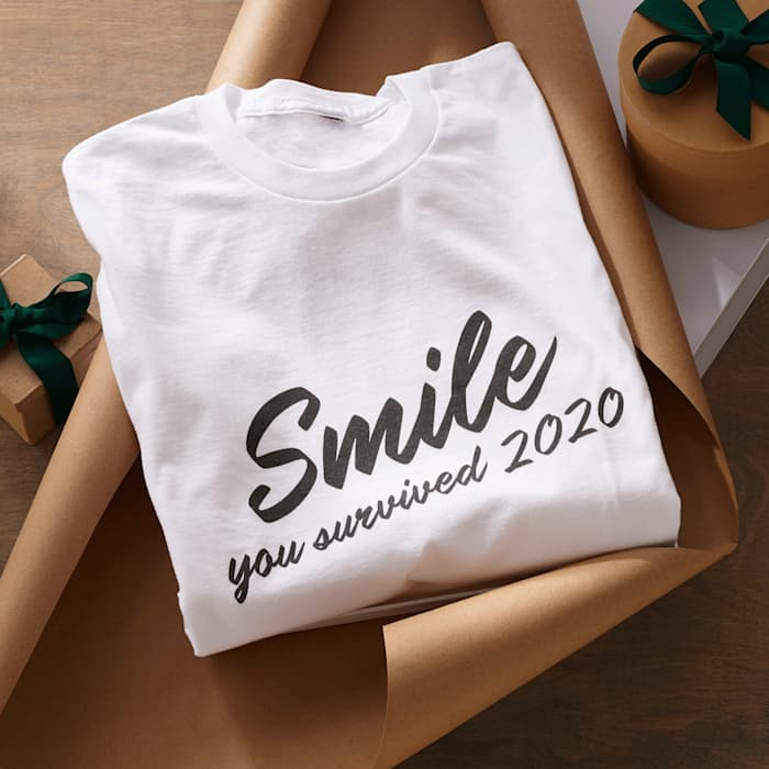 "personalized t shirt with custom text ""smile you survived 2020"""