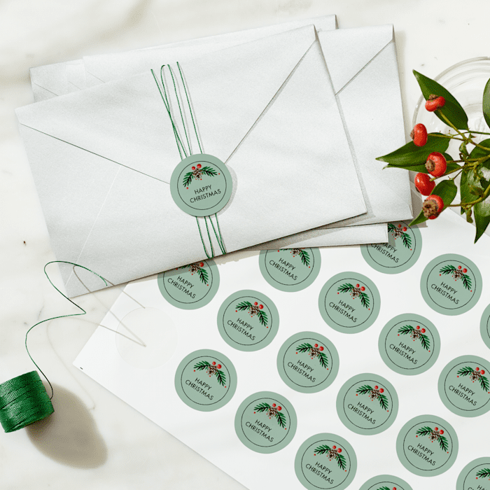 christmas envelope seal with snowflake design