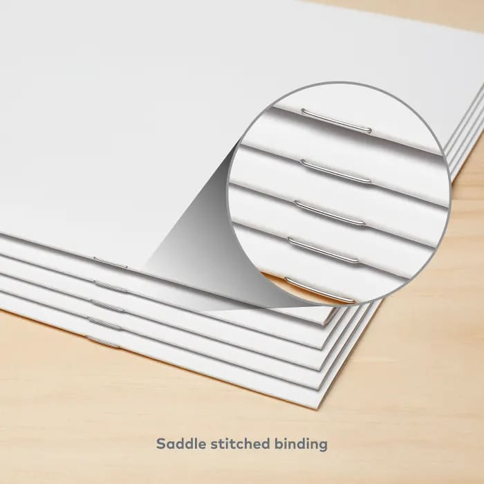 Saddle stitch binding on custom booklet