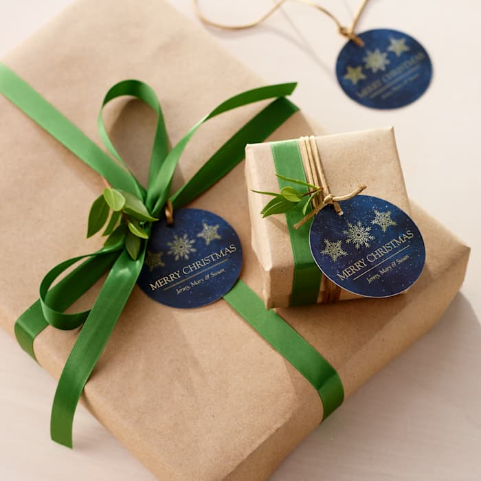 navy and gold happy holidays hang tags for gifts