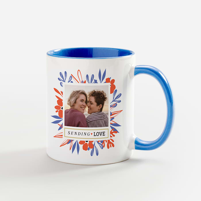 personalized mug with photo and blue handle and interior