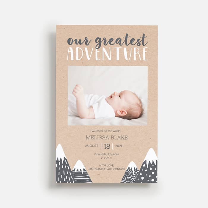 Baby announcement card with mountains theme