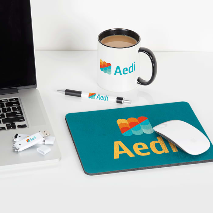 Personalised mouse pad with company logo