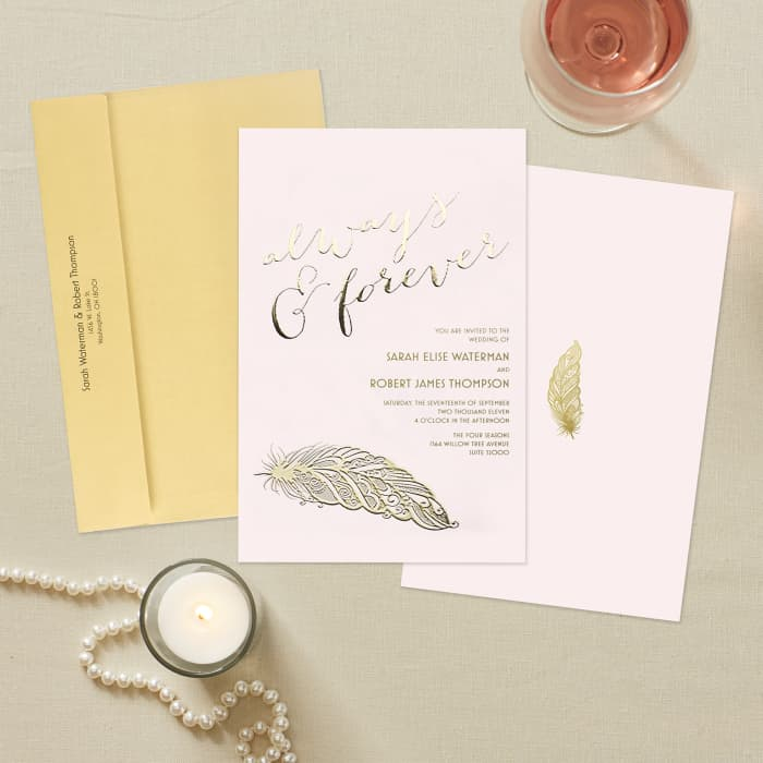 Foil print wedding invitations