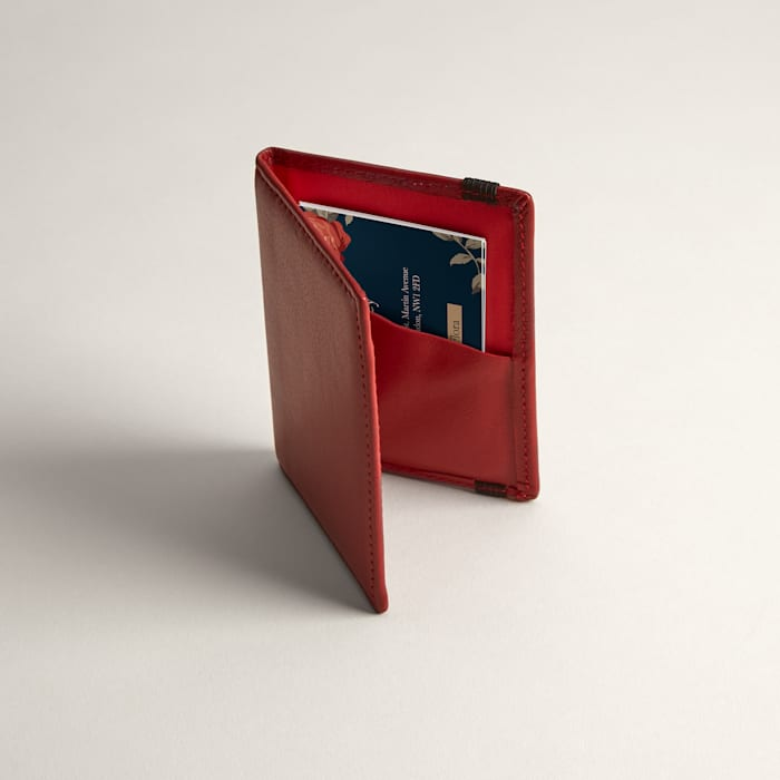 Folded Red Leather Business Card Holders