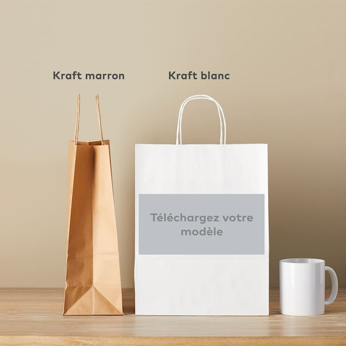 Sac en papier personnalisable kraft marron ou blanc