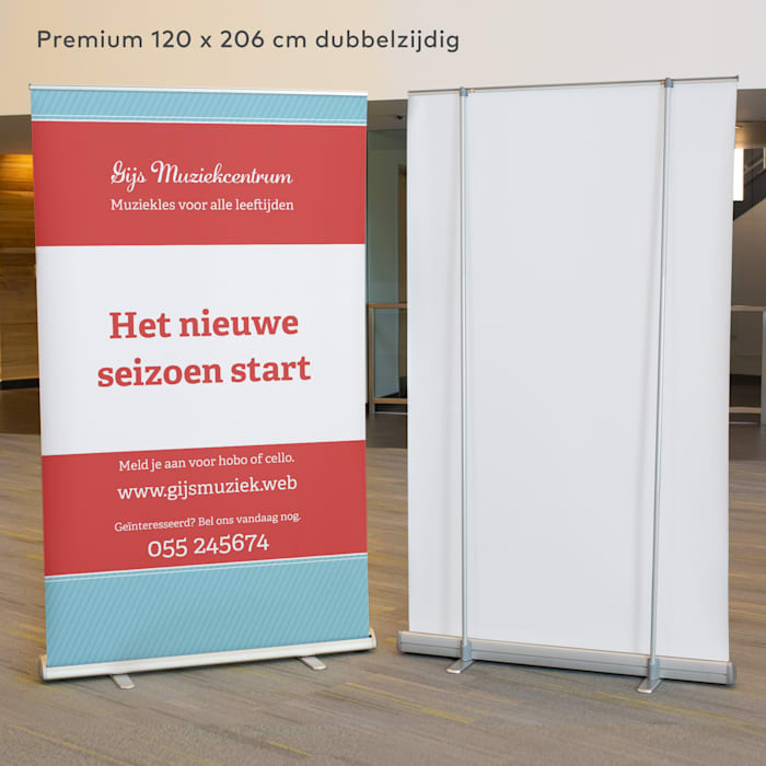 Roll-up banner in restaurant
