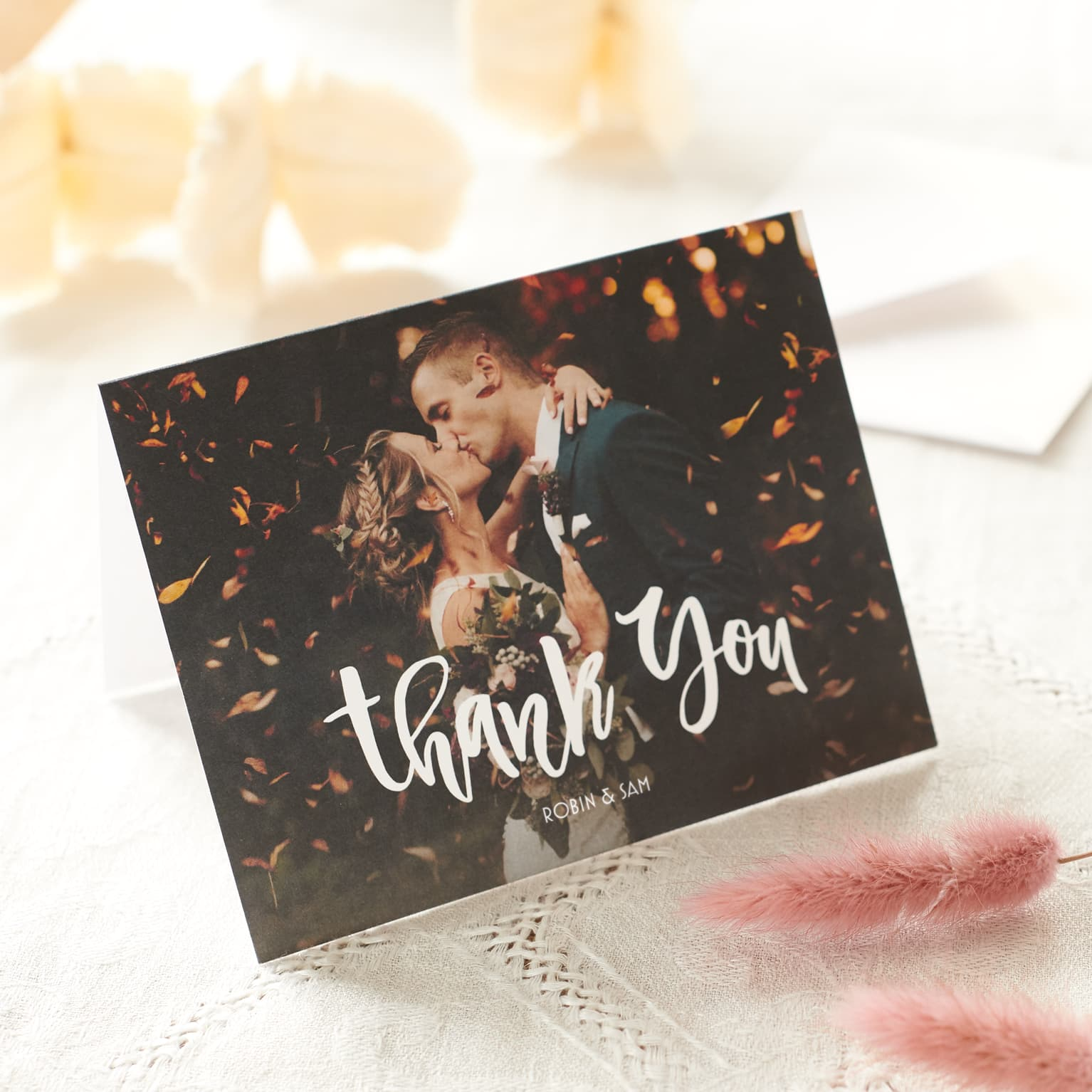 Wedding Thank You Cards Printable Thank You Card Template Custom Thank You Card Full Photo Collage Postcard Thank You Note Floral