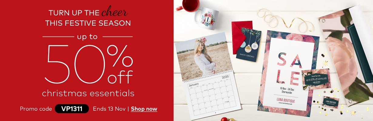 up to 50% off christmas essentials. Promo code VP1311.