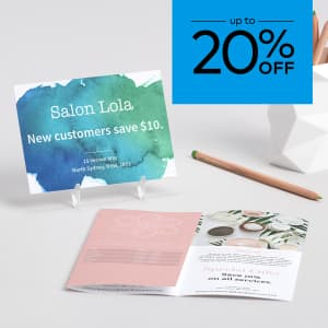 up to 20% off flyers and brochures. Promo code WEMEANBIZ