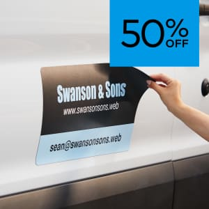 50% off magnetic car signs.